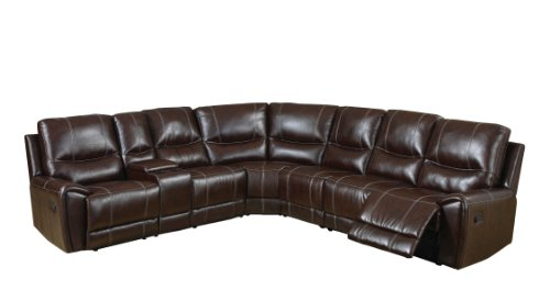 Furniture of America Reeden Bonded Leather Match Sectional Sofa with 3 Recliners, Brown (Brown Sofa Leather Sectional)