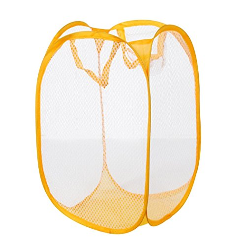- Clothes Storage Basket, Inkach Foldable Washing Clothes Laundry Basket Bag Hamper Mesh Storage Box (Yellow)