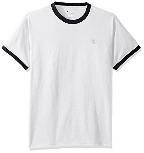 (Champion Men's Classic Jersey Ringer Tee, White/Navy, 2XL)