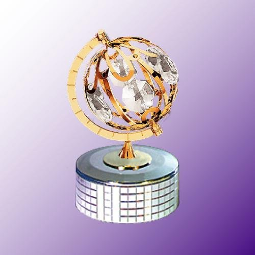 24K Gold Plated Small Spining Globe Music Box.... With Clear Austrian Crystals (Globe Musical Mascot)