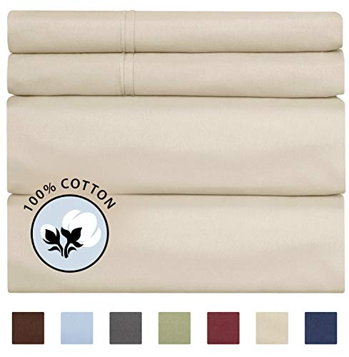 Cotton Sheets - King Size Sheets - Deep Pocket Sheets - Hotel Luxury Sheets - 400 Thread Count - Sateen Sheets - Best Cotton Sheets - All Cotton Sheets - High Thread Count Luxury Sheets - King Cotton