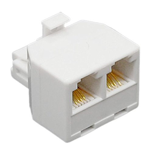 2-Way 6P4C Rj11 Modular Phone Wall Adapter And Splitter (Modular Wall 6p4c)