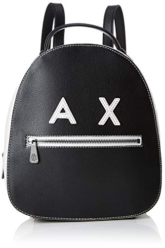 Women's schoolbag, Armani Exchange bag in white and black leather with AX logo and steel inserts. Adjustable shoulder ()