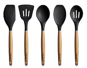 Amazon Com Miusco 5 Piece Silicone Cooking Utensil Set