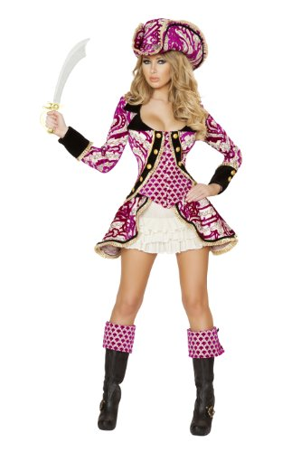 Roma Costume Women's 4 piece Seductive Pirate Captain, White/Pink, Small (Female Pirate Jacket)