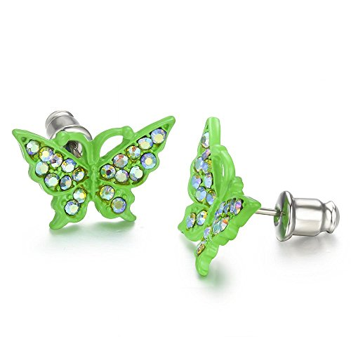 Buyless Fashion Surgical Stainless Steel Crystal Butterfly Stud Earrings In Gift Box - Green - Green Stud Earring Box