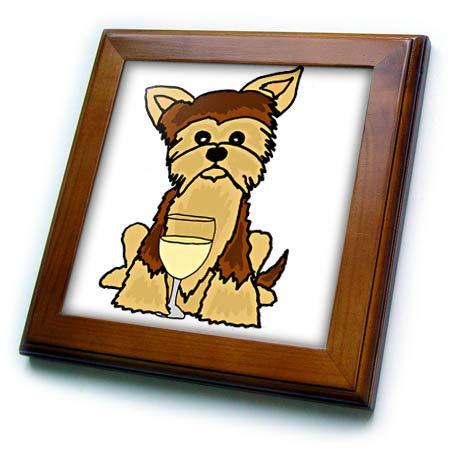 3dRose All Smiles Art - Pets - Funny Cute Yorkshire Terrier Dog Drinking Wine - 8x8 Framed Tile (ft_294516_1)