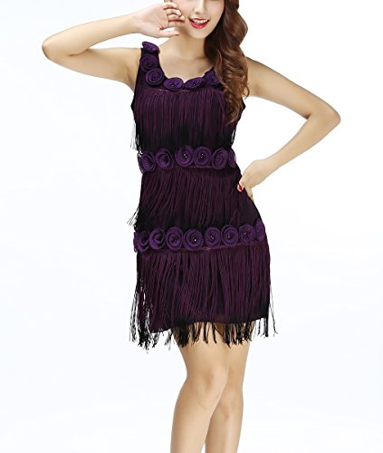 Floral Applique Bead Outfits from the Great Gatsby Party Attire for Women Purple