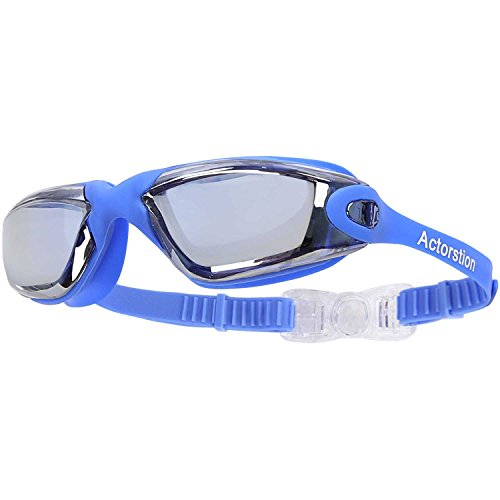 Actorstion Mirrored Swim Goggles Soft and Comfortable - Anti-Fog UV Protection, Best Tinted Swimming Goggles with Case - Aqua Sphere, or Ispeed - Adult Men or Women, Premium Quality - Swim Paddles Best