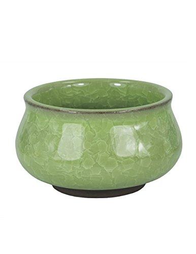 Dahlia Mini Crackle Glaze Ceramic Succulent Planter/ Plant Pot/ Flower Pot/ Bonsai Pot, Green