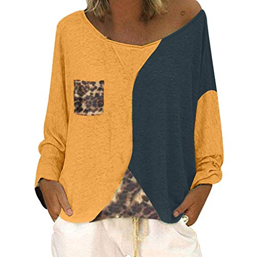 - Dainzuy Womens Blouse,Color Block Crew Neck Long Sleeve Leopard Print Loose Plus Size Pullover Sweatshirt with Pockets Yellow