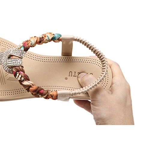 Plataforma Verano katliu Chanclas Zapatos con Beige Bohemias Elegantes Mujer Sandalias Cuña rqqtR4wx0A