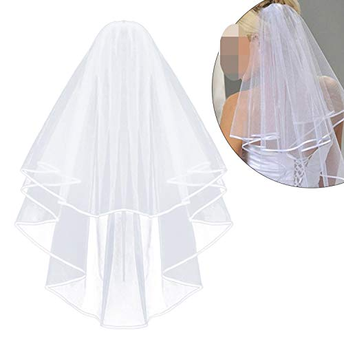 Simple and Elegant Wedding Veil Bridal Tulle Veils with Comb and Lace Ribbon Edge White,1 (Best Cities To Plant A Church)