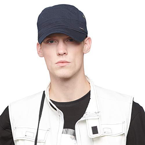 CACUSS Men's Cotton Army Cap Cadet Hat Military Flat Top Adjustable Baseball Cap(Navy) ()