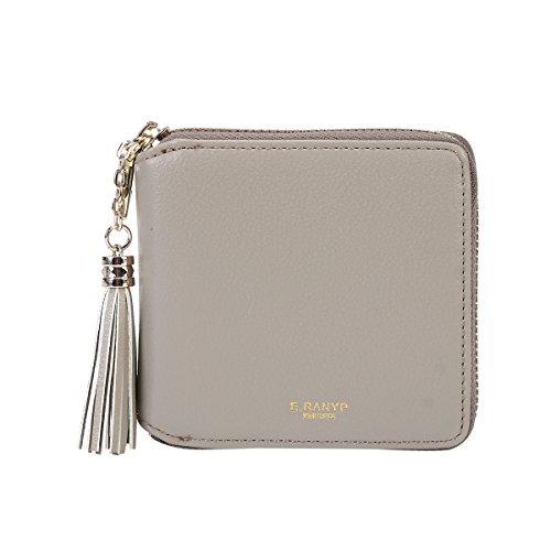 Damara Womens Practical Tassel Zipper Mini Coin Case Wallet,Light Grey