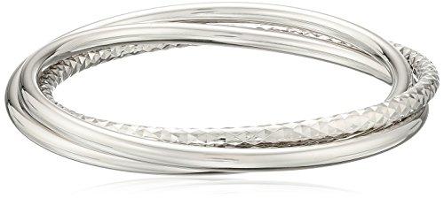 Sterling Silver Triple Classic Slip on Bangles Diamond Cut Rhodium plated