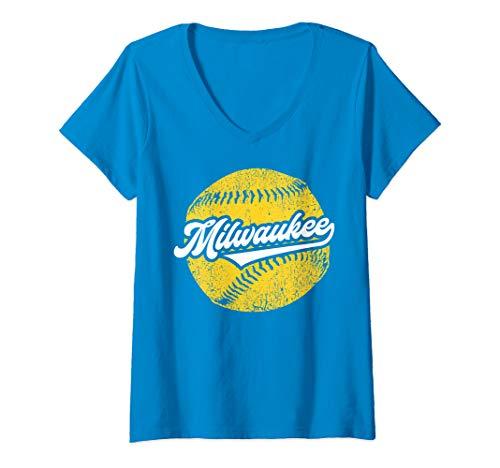 - Womens Milwaukee Baseball | Vintage Brewer Baseball Retro Gift V-Neck T-Shirt