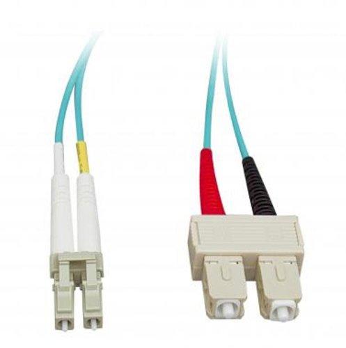 Micro Connectors, Inc. 10 Gigabit Aqua Fiber Optic Cable, LC/SC, Multimode, Duplex, 50/125, 3-Meter (Micro Connectors Fiber Optic Duplex)