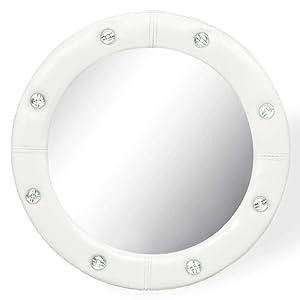 Xingshuoonline Miroir Maquillage Miroir Mural en Cuir Artificiel Blanc Brillant 40cm d'Casa Miroir Mural avec Accessoires de Montage