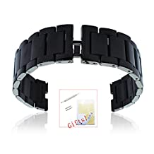 Fitian New Replacement Stainless Steel Watch Strap Band for Moto 360 Smart Watch Motorola Wristband with Free a Screen Protector for Moto 360 and a Spring Bar Tool (Black Stainless Steel Without Push Button)