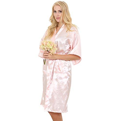 S-Beauty - Bata larga clásica de satén para mujer, estilo kimono para boda / traje de noche rosa claro