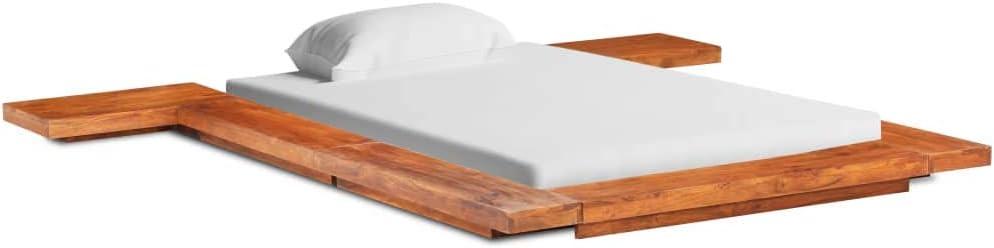 vidaXL Madera Maciza de Acacia Estructura para Futón Japonés Cama Dormitorio Casa Duradera Mobiliario Cómodo Mueble Indivudual 90x200 cm