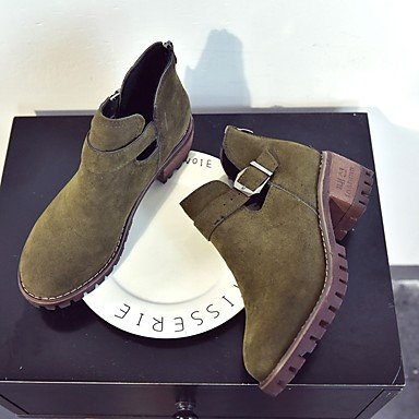 Chunky Heel Shoes CN35 Cashmere EU36 Army 5 Fall Zipper Boots Black Round RTRY US5 5 For Combat Casual Toe Women's Boots UK3 Green Aq05nx8