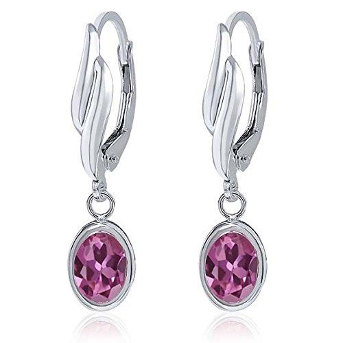 1.70 Ct Oval Pink Tourmaline Gemstone 925 Sterling Silver Earrings For women (Earrings Tourmaline Date)