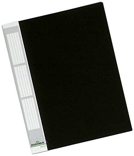 DURABLE 242201 - Duralook, portalistino per documenti f.to A4, etichetta personalizzabile, 20 buste termosaldate, dorso 17 mm, nero, conf. da 5 pezzi