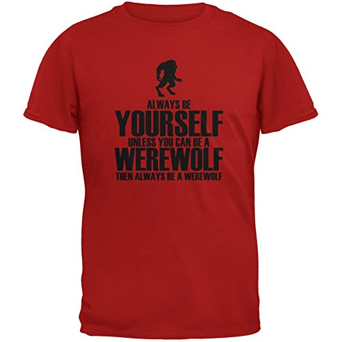 Halloween Always Be Yourself Werewolf Red Youth T-Shirt - Youth Large (Werewolf Outfits Halloween)