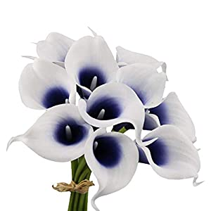 Angel Isabella, LLC 20pc Set of Keepsake Artificial Real Touch Calla Lily with Small Bloom Perfect for Making Bouquet, Boutonniere,Corsage (Picasso Navy) 12
