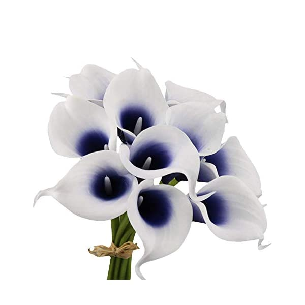 Angel Isabella, LLC 20pc Set of Keepsake Artificial Real Touch Calla Lily with Small Bloom Perfect for Making Bouquet, Boutonniere,Corsage (Picasso Navy)