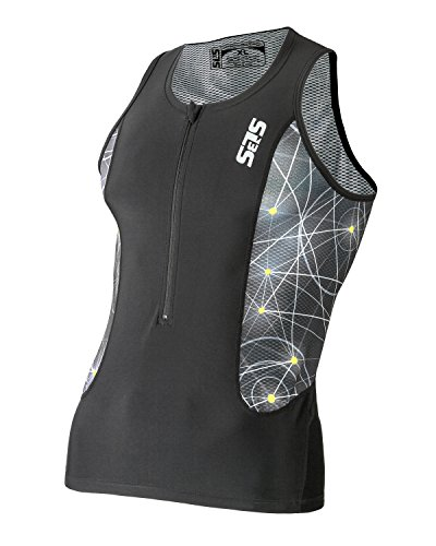 Triathlon SLS3 Men`s FRT Tri Top 2 Pockets Zipper Jersey - Singlet -Tank (Black/Neon, - Clearance Suit Triathlon