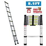 2.6M 8.5FT Retractable Ladders Telescopic Multi-Purpose Aluminum Extending Collapsible EN131 Standard 150KG Max Load for Household Office