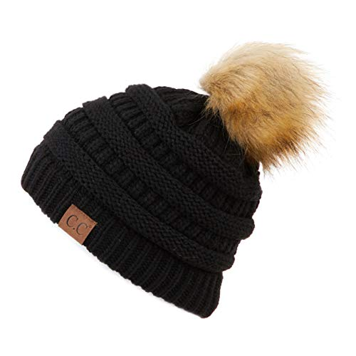 Hatsandscarf CC Exclusives Unisex Ombre Ribbed Confetti Knit Beanie with POM (HAT-43) (Black)