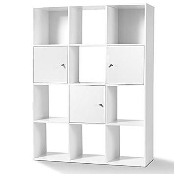 IDMarket   Meuble De Rangement Cube 12 Cases Bois Blanc Avec 3 Portes