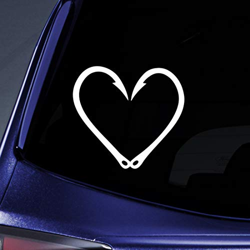 window decals fish hook heart - 5
