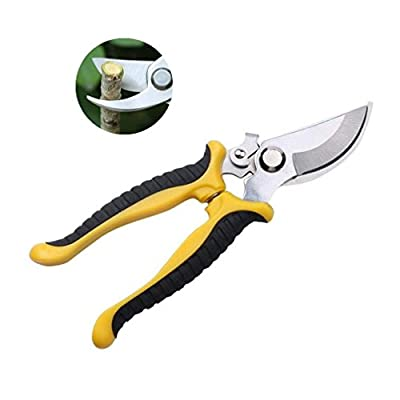 HAPPYTRY Garden Shears Pruners, Steel Bypass Pruning Shears Garden Clippers Scissors, Professional Tree Trimmer Gardening Tools 7.5 inch, Yellow Black