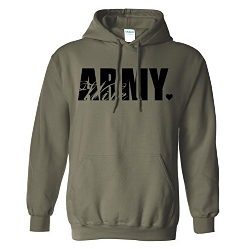 Army Wife Heart Heart Hooded Sweatshirt in Military Green - Small