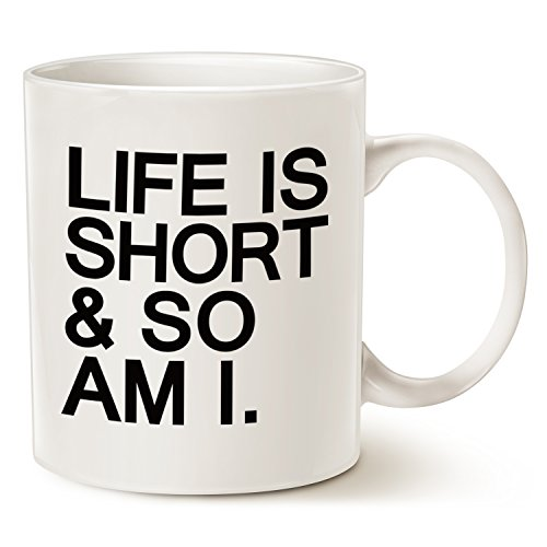 Funny Quote Coffee Mug - Life is Short & So Am I - Best Christmas Gifts Ceramic Cup White, 11 Oz by (Cheap And Easy Halloween Decoration Ideas)