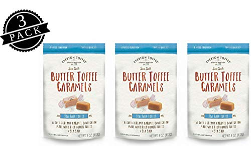 Everton Toffee Butter Toffee Caramels, Sea Salt Flavor (4 oz. bag, 3-pack). Gourmet, Artisan Soft and Creamy Toffee Caramels, Small Batch Crafted Carmel Candy Treats