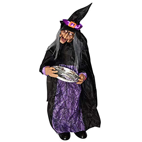 BenefitUSA Halloween Animated Witch with Sound Sensor Ghost Lighted Eyes Motion Sensor -