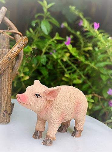 Dollhouse Mini Farm Bacon The Piglet Pig Figurine Miniature Magic Scene Supplies for Your Fairy Garden - Outdoor and House -
