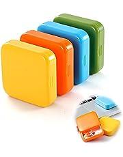 4-Pack, kleine pillendoosje met 2 vakken, draagbare pillendoos, draagbare opbergpillendoos, pillendoos, medicijndispenser, gemakkelijk te dragen pillendoosje