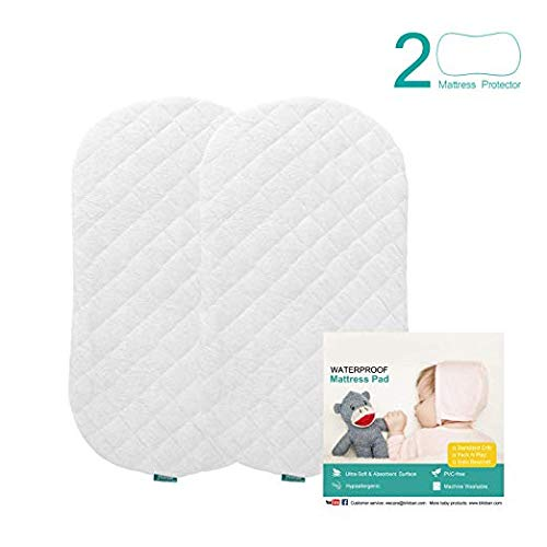- Bassinet Mattress Pad Cover(Improved Style), Waterproof, Fits for Hourglass/Oval Bassinet Mattress, 2 Pack, Ultra Soft Bamboo Fleece Surface, Washer & Dryer, No Loosen and Pre-Shrink
