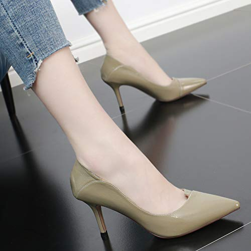 8Cm With High Pointed Single Simple Fashion Shoes Thin Summer Mouth Khaki Shoes Shallow SFSYDDY Heeled Lacquer Shoes Women'S 8dPq8w