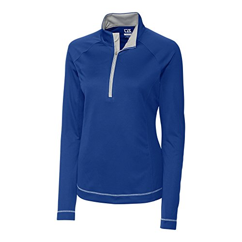 Cutter & Buck Womens LCK02592 CB DryTec L/S Evolve Half Zip Athletic Shell Jackets, Tour Blue - L