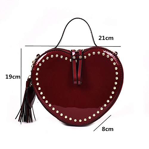 GMYANDJB Vintage Totes Heart Shape Handbags for Women Luxury Rivet Design Patent Leather Solid Mini Flap Purse Tassel Shoulder Bags