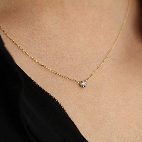(Diamond Necklace, Diamond Solitaire Necklace, Natural Brilliant Cut Bezel Diamond Necklace, Minimalist Necklace, Diamond Bezel Necklace)