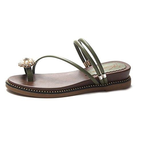 Diapositive Femmes Flop Sandale des Vert Sandales Peep Plage Fleur Bracelet Sandale Flip Romaines Plat Été Polyvalente vEqwR